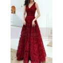 V Neck Sleeveless Red Lace Dress For Prom With Lace Up Closing - Ref L1998 - 04