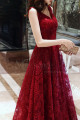 V Neck Sleeveless Red Lace Dress For Prom With Lace Up Closing - Ref L1998 - 05