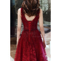 V Neck Sleeveless Red Lace Dress For Prom With Lace Up Closing - Ref L1998 - 06