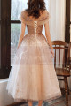 copy of Silver Gray Tulle Vintage Princess Prom Dress With Neck Tie - Ref C1950 - 05