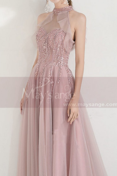 Pink evening dress - High-Neck Halter Pink Long Prom Dress With Flounce - L1999 #1