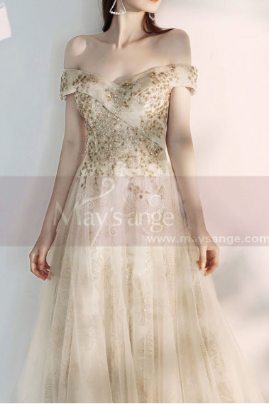 Champagne Off The Shoulder Engagement Dresses With Golden Shiny Ornament Top - L2000 #1