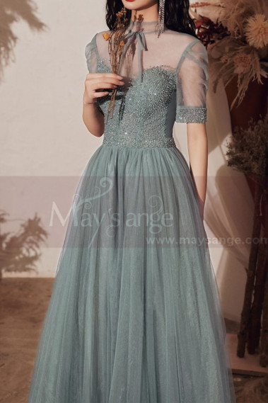 Vintage Prom Dresses With Sleeves And Sheer Top - L2002 #1