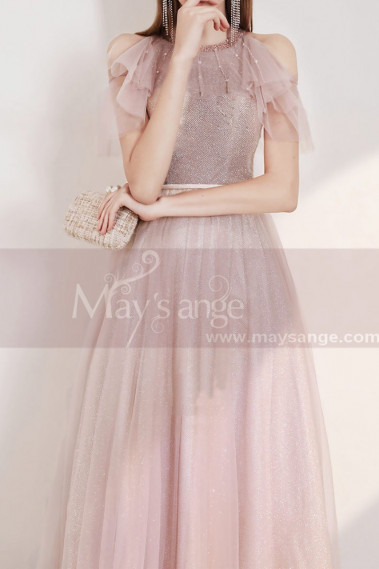 Pink evening dress - copy of Long Sexy Pink Lace Dress With Slit - L2004 #1