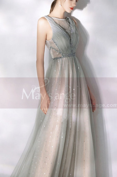 Flared evening dress - Sparkly Floor Length Long Gown Dress - L2005 #1