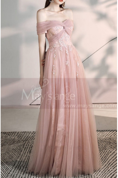 Tie Neck Off The Shoulder Embroidered Blush Pink Bridesmaid Dresses - L2006 #1