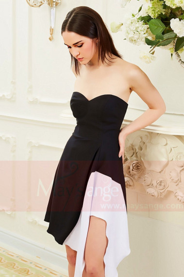 Black And White Strapless Cocktail Outfit Asymmetric Skirt - C839PROMO #1