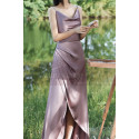 Silver Pink Long Satin Graduation Outfits With Slit - Ref L1200 - 02