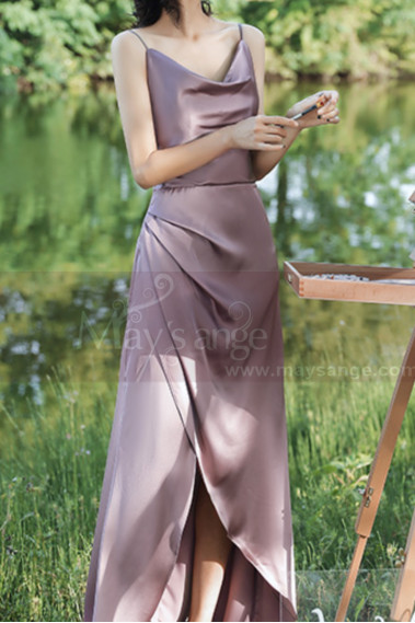 Pink bridesmaid dress - Silver Pink Long Satin Graduation Outfits With Slit - L1200 #1
