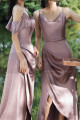 Silver Pink Long Satin Graduation Outfits With Slit - Ref L1200 - 03