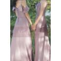 Silver Pink Long Satin Graduation Outfits With Slit - Ref L1200 - 04