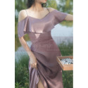 Silver Pink Satin Sexy Cocktail Dresses With Straps And Ruffle Neckline - Ref L1201 - 02