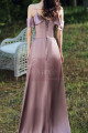 Slit Silver Pink Satin Dress For Bridesmaids Ruffle Neckline And Straps - Ref L1202 - 02