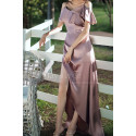 Slit Silver Pink Satin Dress For Bridesmaids Ruffle Neckline And Straps - Ref L1202 - 03
