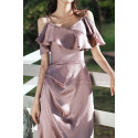 Slit Silver Pink Satin Dress For Bridesmaids Ruffle Neckline And Straps - Ref L1202 - 04