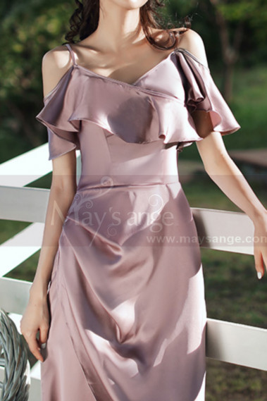 Pink bridesmaid dress - Slit Silver Pink Satin Dress For Bridesmaids Ruffle Neckline And Straps - L1202 #1