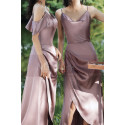 High Slit Bridesmaid Dresses Silver Pink And Straps - Ref L1203 - 04