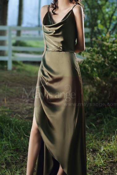 Back Lacing Green Satin Cowl Neck Dress Wtih Slit