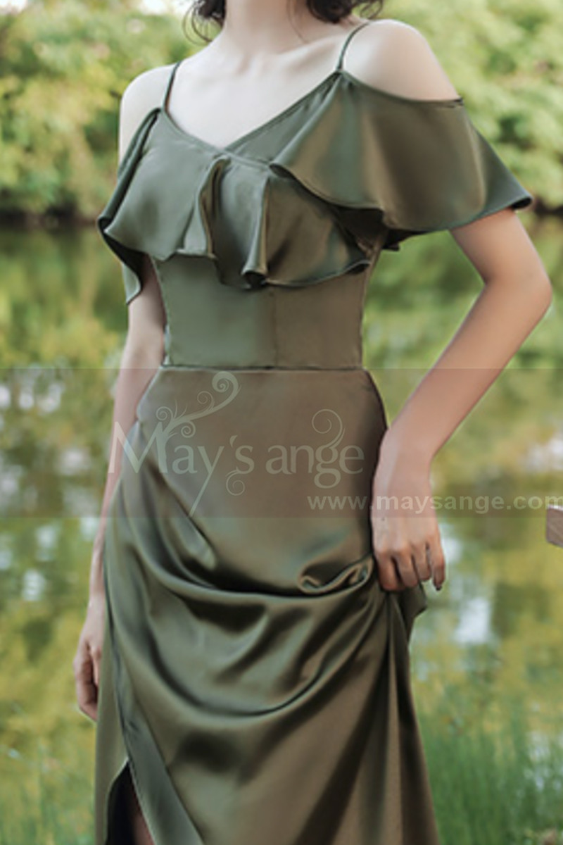 Thin Straps Long Olive Green Dress With Slit For Bridesmaids - Ref L1206 - 01