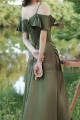 Thin Straps Long Olive Green Dress With Slit For Bridesmaids - Ref L1206 - 03