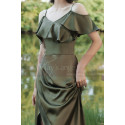 Thin Straps Long Olive Green Dress With Slit For Bridesmaids - Ref L1206 - 04