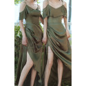 Thin Straps Long Olive Green Dress With Slit For Bridesmaids - Ref L1206 - 05