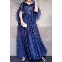 Blue Sparkly Plus Size Dresses For Women With Ruffle Sleeves - Ref L1208 - 03
