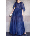 Blue Sparkly Plus Size Dresses For Women With Ruffle Sleeves - Ref L1208 - 04