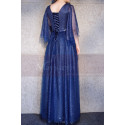 Blue Sparkly Plus Size Dresses For Women With Ruffle Sleeves - Ref L1208 - 06