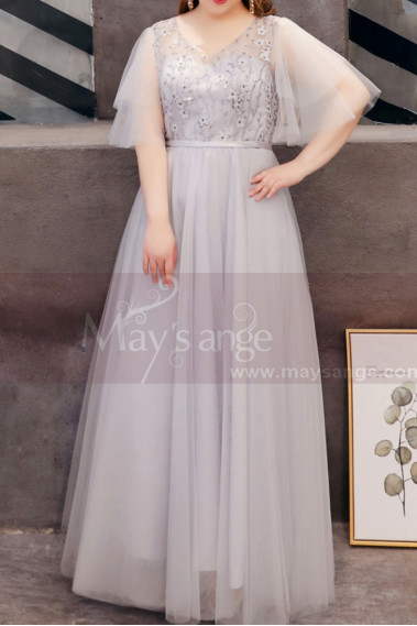 Silver Gray Tulle Plus Size Wedding Guest Dresses With Ruffle Sleeves And Embroidered Top - L1209 #1