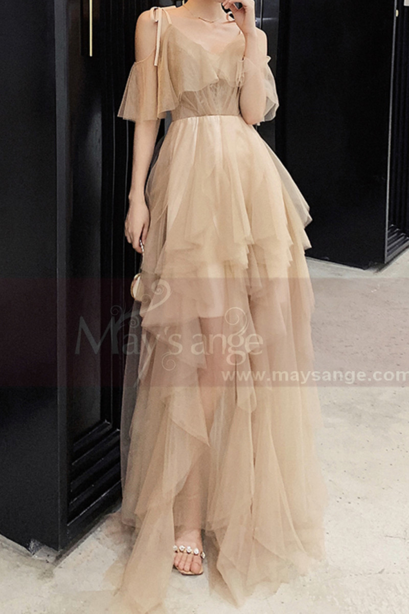 Evening Maxi Dresses In Tulle Champagne Knotted Straps - Ref L1210 - 01