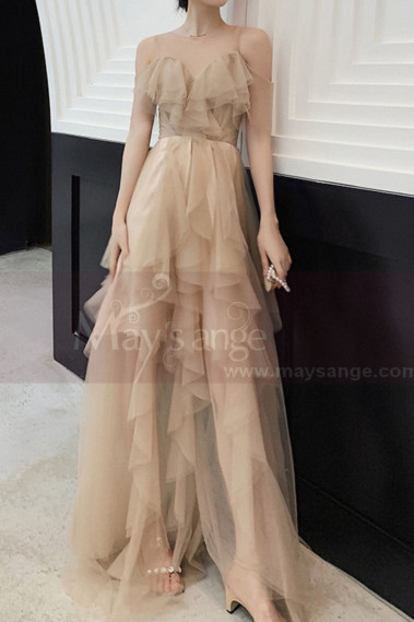 Champagne Ball Gown Long Ruffle Skirt In Tulle - L1211 #1