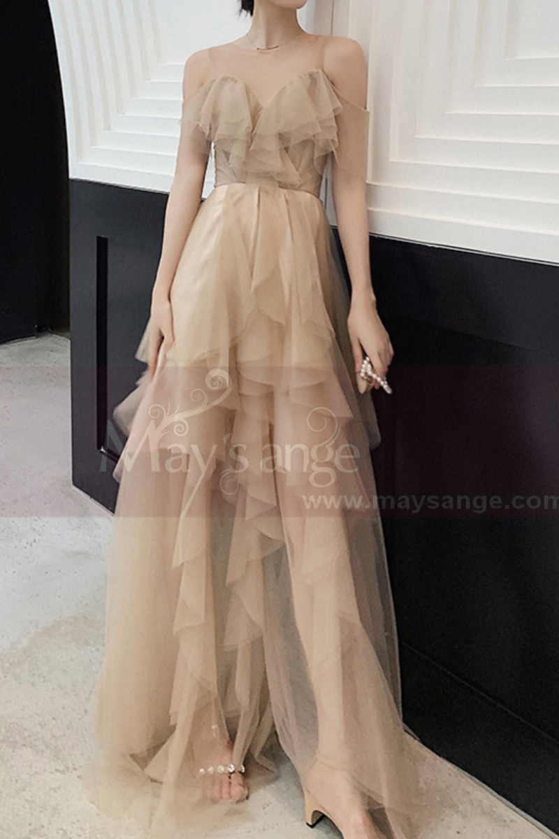 Champagne Ball Gown Long Ruffle Skirt In Tulle - Ref L1211 - 01