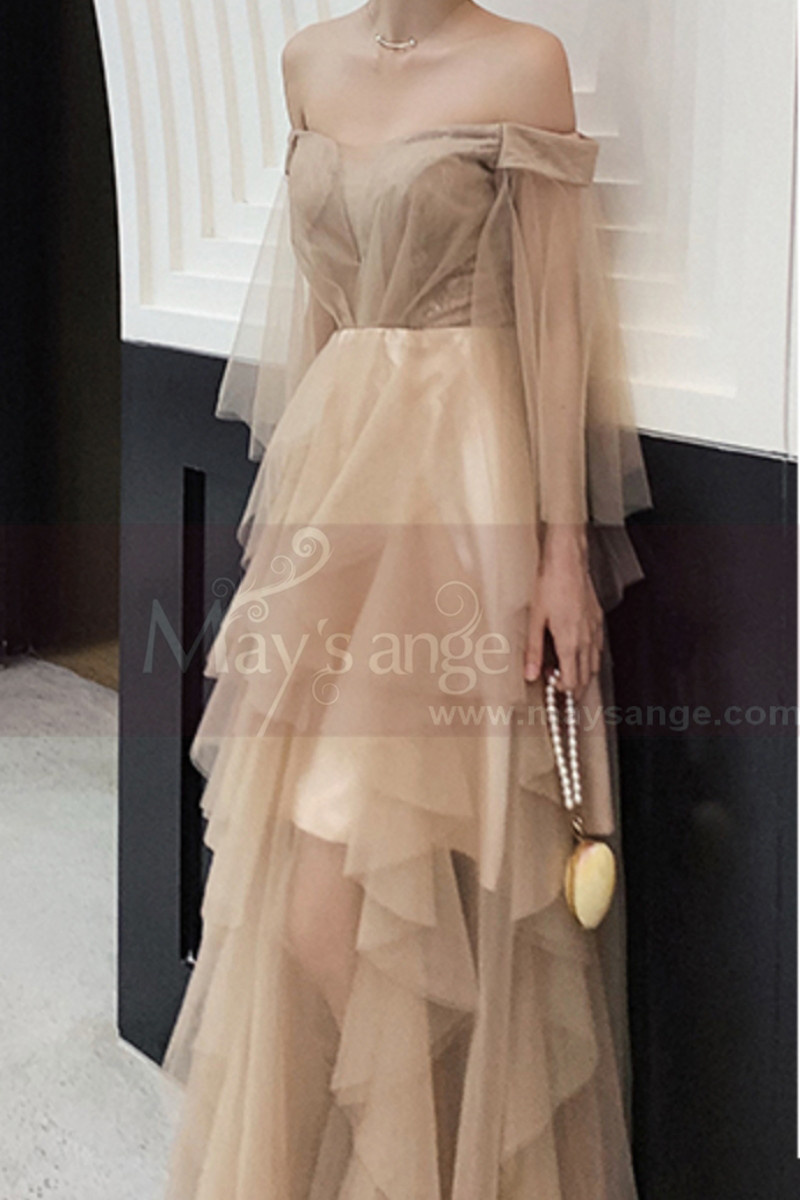 Off-The-Shoulder Long Transparency Sleeves Evening Gowns With Ruffle Long Skirt - Ref L1212 - 01