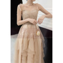 Chic Champagne Bridesmaid Dresses With Knotted Straps And Ruffle Skirt - Ref L1213 - 02