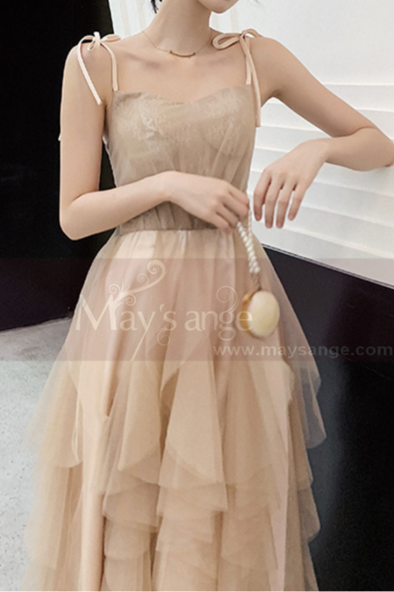 Chic Champagne Bridesmaid Dresses With Knotted Straps And Ruffle Skirt - Ref L1213 - 01