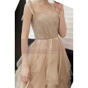 Chic Champagne Bridesmaid Dresses With Knotted Straps And Ruffle Skirt - Ref L1213 - 05