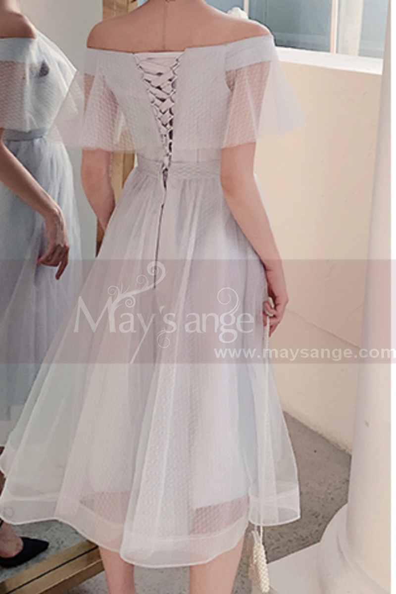 Short Tulle Off-The-Shoulder White Ruffle Dress - Ref L1215 - 01