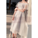 Short Tulle Off-The-Shoulder White Ruffle Dress - Ref L1215 - 03