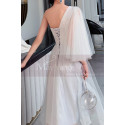 Asymmetrical White Ball Gown Prom Dresses In Tulle - Ref L1216 - 02