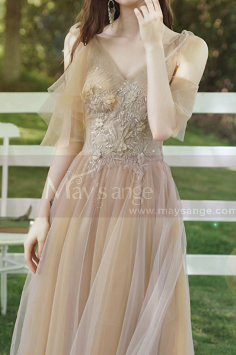 Short Bridesmaid Dresses Champagne Chic With Embroidery Top - Ref L1217 - 01