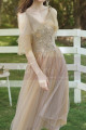 Short Bridesmaid Dresses Champagne Chic With Embroidery Top - Ref L1217 - 03