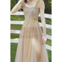 Tea Length Champagne Bridesmaid Dresses With Removable Strap - Ref L1218 - 02