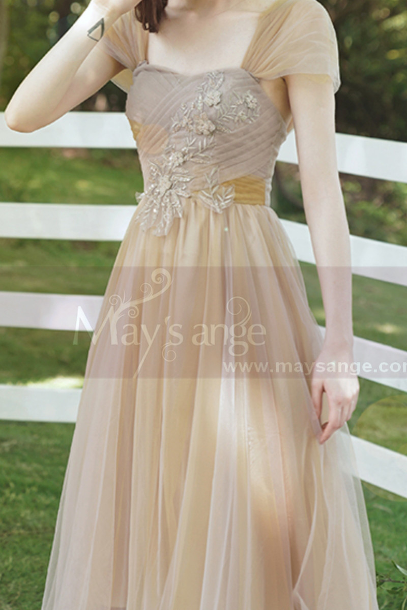 Tea Length Champagne Bridesmaid Dresses With Removable Strap - Ref L1218 - 01
