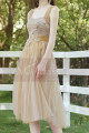 Tea Length Champagne Bridesmaid Dresses With Removable Strap - Ref L1218 - 03