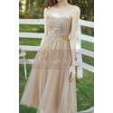 Tea Length Champagne Bridesmaid Dresses With Removable Strap - Ref L1218 - 05