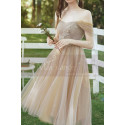 Tea Length Champagne Bridesmaid Dresses With Removable Strap - Ref L1218 - 06