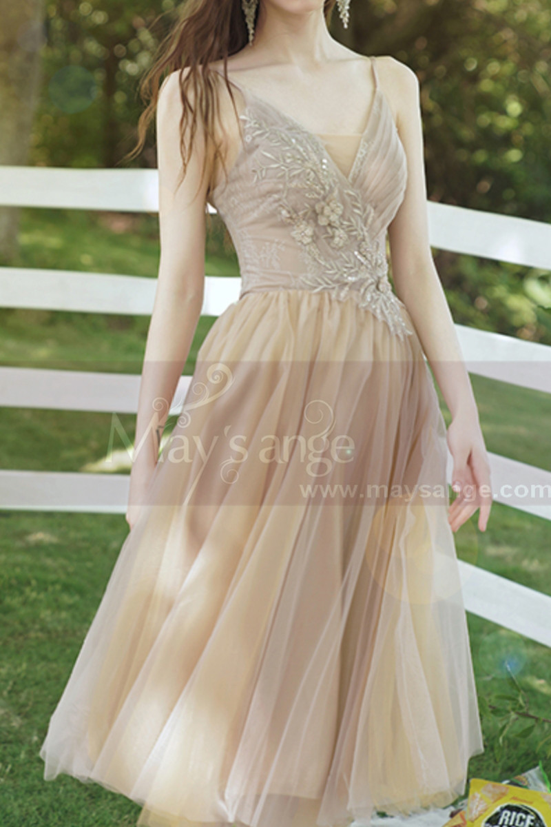 Champagne Short Princess Gown With removable Bishop Sleeves - Ref L1219 - 01