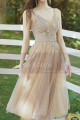 Champagne Short Princess Gown With removable Bishop Sleeves - Ref L1219 - 02