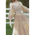 Champagne Short Princess Gown With removable Bishop Sleeves - Ref L1219 - 03